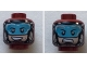 Part No: 3626cpb2154  Name: Minifigure, Head Dual Sided Black Eyebrows, Light Blue Visor, Mouth Open/ Grim Pattern (ATOM) - Hollow Stud
