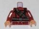 Part No: 973pb0594c01  Name: Torso Indiana Jones Dark Brown Belt and Sash with Ceremonial Knife Pattern / Dark Red Arms / Flesh Hands