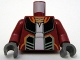 Part No: 973pb0606c01  Name: Torso SW Open Jacket with Black, Orange and Sand Green Lines and Pony Tails on Back Pattern (Hondo Ohnaka) / Dark Red Arms / Dark Bluish Gray Hands