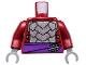 Part No: 973pb1368c01  Name: Torso Armor with Dark Purple Belt with Silver Clasp Pattern / Dark Red Arms / Dark Bluish Gray Hands