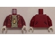 Part No: 973pb2020c01  Name: Torso Suit Jacket over T-Shirt with 100 Dollar Bill Money Print, Gold Minifigure Medallion Pattern / Dark Red Arms / White Hands