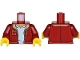 Part No: 973pb3162c01  Name: Torso Jacket with Pockets and Medium Nougat Collar over Light Bluish Gray Shirt Pattern / Dark Red Arms / Yellow Hands