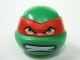 Part No: 12607pb03  Name: Minifigure, Head Modified Ninja Turtle with Red Mask and Teeth Pattern (Raphael)