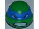Part No: 12607pb04  Name: Minifigure, Head Modified Ninja Turtle with Blue Mask and Teeth Pattern (Leonardo)