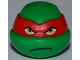 Part No: 12607pb07  Name: Minifigure, Head Modified Ninja Turtle with Red Mask and Frown Pattern (Raphael)