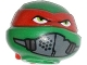 Part No: 12607pb10  Name: Minifigure, Head Modified Ninja Turtle with Red Mask and Mouth Muffle Pattern (Raphael)