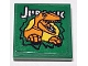 Part No: 3068bpb1490  Name: Tile 2 x 2 with Groove with 'Jurassic' and Velociraptor Breaking Through Wall on Green Background Pattern (Sticker) - Set 75934