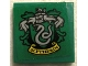 Part No: 3068bpb1684  Name: Tile 2 x 2 with Groove with HP 'SLYTHERIN' House Crest on Green Background Pattern (Sticker) - Set 75956