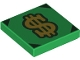 Part No: 3068bpb1735  Name: Tile 2 x 2 with Groove with Gold Dollar Sign and Dark Green Corners Pattern