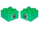 Part No: 3437pe1  Name: Duplo, Brick 2 x 2 with Eye with White Spot Pattern, on Two Sides - Type 1
