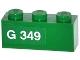 Part No: 3622pb051L  Name: Brick 1 x 3 with 'G 349' Left Pattern (Sticker) - Set 70805