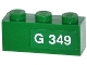 Part No: 3622pb051R  Name: Brick 1 x 3 with 'G 349' Right Pattern (Sticker) - Set 70805