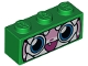 Part No: 3622pb078  Name: Brick 1 x 3 with Cat Face Wide Eyes, Smiling Open Mouth with One Tooth, Green Dinosaur Mask with White Teeth Pattern (Dinosaur Unikitty)