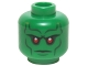 Part No: 3626cpb1228  Name: Minifigure, Head Alien with Red Eyes, Dark Bluish Gray Eyebrows, Cheek Lines Stern Expression Pattern (Martian Manhunter) - Hollow Stud