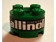 Lot ID: 243742716  Part No: 3941pb13  Name: Brick, Round 2 x 2 with Axle Hole with 'POWERED BY allinol' Pattern (Sticker) - Set 8206