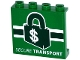 Part No: 60581pb045  Name: Panel 1 x 4 x 3 with Side Supports - Hollow Studs with 'SECURE TRANSPORT' and Dark Green Lock with '$' Dollar Sign Pattern (Sticker) - Set 76015