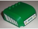 Part No: 61484pb003  Name: Windscreen 5 x 6 x 2 Curved Top Canopy with 4 Studs with Green 'TRANSPORT' on Front and White Stripes Pattern on Both Sides (Stickers) - Set 7733
