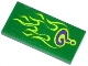 Part No: 87079pb0166  Name: Tile 2 x 4 with Dark Purple Question Mark and Lime Flames Pattern (Sticker) - Set 76012