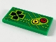 Part No: 87079pb0678  Name: Tile 2 x 4 with Arcade Game Controls, Black Joystick, Yellow and Red Buttons Pattern on Green Background (Sticker) - Set 71716