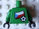Part No: 973pb0779c01  Name: Torso Soccer Czech Goalie, Czech Flag Sticker Front, White Number Sticker Back (specify number in listing) / Green Arms / Black Hands