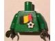Part No: 973pb0824c01  Name: Torso Soccer Belgian Goalie, Belgian Flag Sticker Front, White Number Sticker Back (specify number in listing) / Green Arms / Black Hands