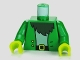 Part No: 973pb1046c01  Name: Torso SpongeBob Jacket with Two Buttons over Light Blue Shirt and Dark Green Beard Pattern / Green Arms / Lime Hands