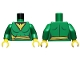 Part No: 973pb1517c01  Name: Torso Female Suit with Yellow Eagle and Belt Pattern (Phoenix Jean Grey) / Green Arms / Yellow Hands