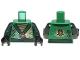 Part No: 973pb1573c01  Name: Torso Ninjago Robe with Dark Green Sash and Golden Power Emblem Pattern / Dark Green Arms / Black Hands