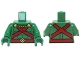 Part No: 973pb1836c01  Name: Torso Muscles Outline with Red Straps and Belt, Yellow Clasps and Cord Pattern / Green Arms / Green Hands