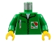 Part No: 973px19c01  Name: Torso Octan Logo Jacket with Pen Pattern / Green Arms / Yellow Hands