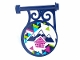 Part No: 13459pb007  Name: Road Sign Round on Pole with Mountains and Cabin Pattern on Both Sides (Stickers) - Set 41323