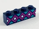 Part No: 3010pb276  Name: Brick 1 x 4 with Light Turquoise, Magenta, and White Diamonds Pattern