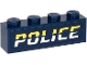 Part No: 3010pb300  Name: Brick 1 x 4 with Bright Light Yellow and White 'POLICE' on Dark Blue Background Pattern (Sticker) - Set 60273