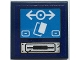 Part No: 3068bpb1706  Name: Tile 2 x 2 with Groove with Silver Ticket Slot, Dark Azure Screen with White Train Logo and Buttons Pattern (Sticker) - Set 70424