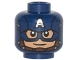 Part No: 3626cpb1317  Name: Minifigure, Head Male Mask with Eye Holes and Letter A on Forehead, Chin Strap, Smile Pattern (Captain America) - Hollow Stud
