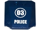 Part No: 45677pb087  Name: Wedge 4 x 4 x 2/3 Triple Curved with '03' in White Circle and 'POLICE' Pattern (Sticker) - Set 60069