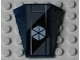 Part No: 47753pb044  Name: Wedge 4 x 4 No Studs with Six White Triangles on Dark Bluish Gray and Black Background Pattern (Sticker) - Set 7751