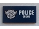 Part No: 87079pb0111  Name: Tile 2 x 4 with Silver Star Badge and White 'POLICE 60008' on Dark Blue Background Pattern (Sticker) - Set 60008
