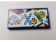Part No: 87079pb0571  Name: Tile 2 x 4 with Ski Poles, Skis, Snowboard and Rental Prices '10', '30', '40' Pattern (Sticker) - Set 41324