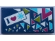 Part No: 87079pb0817  Name: Tile 2 x 4 with 'I', Heart and Snowflake on Dark Blue Background Pattern with Triangles (Sticker) - Set 41321