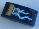 Part No: 93606pb128R  Name: Slope, Curved 4 x 2 with Gold Air Intake, Bright Light Blue and White Lightning and Gold Ninjago Logogram Pattern Model Right Side (Sticker) - Set 70622