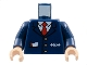 Part No: 973pb0320c02  Name: Torso Train with Logo, Three Gold Buttons, Red Tie, Pencil & Paper in Pocket Pattern / Dark Blue Arms / Light Flesh Hands