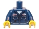 Part No: 973pb1025c01  Name: Torso Mechanic with Two Pockets, Oil Stains and Ralph Name Badge Pattern / Dark Blue Arms / Yellow Hands