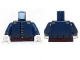 Part No: 973pb1456c01  Name: Torso Cavalry Uniform, 7 Buttons, Dark Red Sash and Gold Epaulettes Pattern / Dark Blue Arms / White Hands