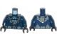 Part No: 973pb1647c01  Name: Torso Batman Logo in Medium Blue Oval with Body Armor and Dark Bluish Gray Belt Pattern / Dark Blue Arms / Black Hands