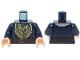 Part No: 973pb1794c01  Name: Torso LotR Coat Fur Lined with Olive Green Vest, Ascot and Belt Pattern / Dark Blue Arms / Light Nougat Hands