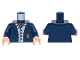 Part No: 973pb2248c01  Name: Torso Batman Suit Jacket, Light Blue Button Down Shirt Open Collar, Red Ascot, Gold Monogram Pattern / Dark Blue Arms / Light Flesh Hands
