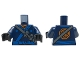 Part No: 973pb2807c01  Name: Torso Ninjago Robe with Ninjago Logogram 'SPARK', Orange Scarf, Blue Sash and Orange Emblem Pattern / Dark Blue Arms / Black Hands