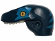 Part No: 98065pb10  Name: Dino Head Raptor with Pin Hole, Tan Teeth and Blue Stripes and Blue Eye Patch Pattern