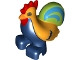 Part No: bb0852pb01  Name: Duplo Chicken, Rooster Tail, Lime and Medium Azure Tail, Two Feet, Eyes Top Semicircular Pattern